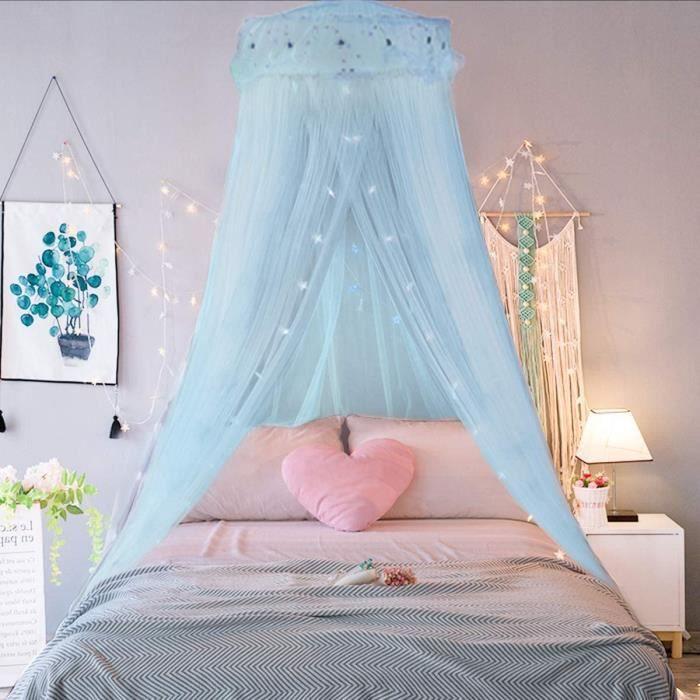 Ciel de lit Moustiquaire Bleu, Ciel de Lit Princesse Moustiquaire Dôme Polyester, Décoration pour Chambre Bébé ou Enfant (Hauteur 24