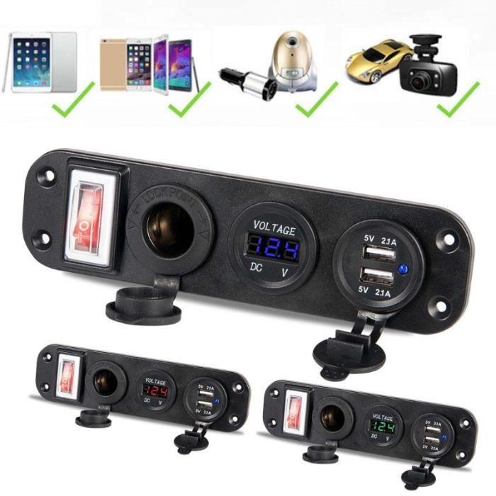 Chargeur de voiture double adaptateur USB 12V prise allume cigare LED voltmètre commutateur - Type Rouge Universel