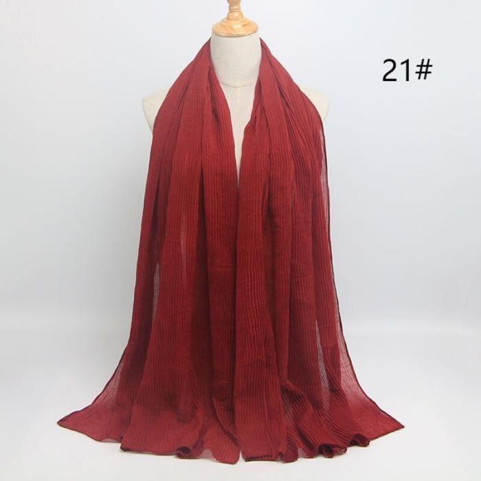 Foulard hijab en coton froissé, écharpe douce, écharpe chaude, écharpe chaude, châle, 25 couleurs, Design hiver, tendanc DY5179