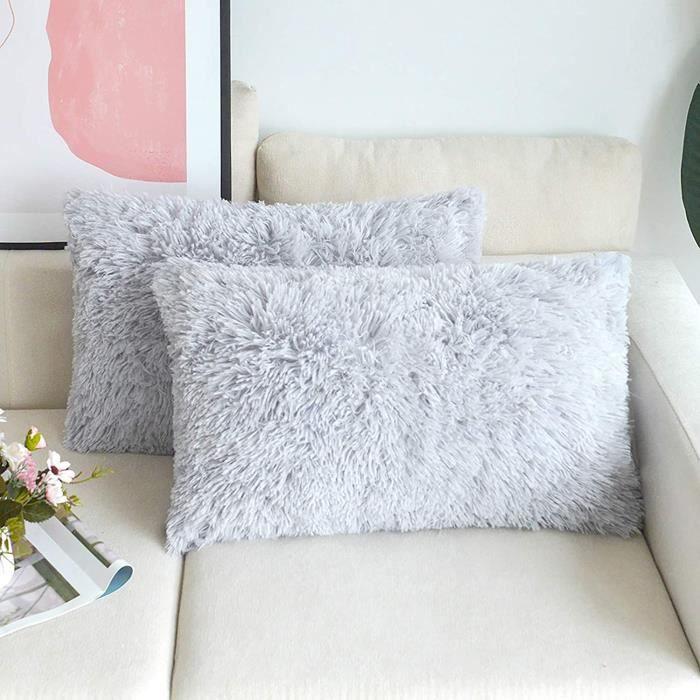 Ensemble de 2 pièces de housse de coussin en fourrure artificielle 30x50cm gris, moelleux et doux housse de coussin carrée déco,239