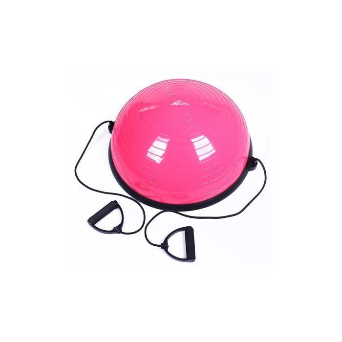 Balance Trainer Ball, Ø58 cm Ballon d'Équilibre avec Cordes Élastiques, Demi-Ballon d'Entraînement avec Câbles de Résistanc Rose