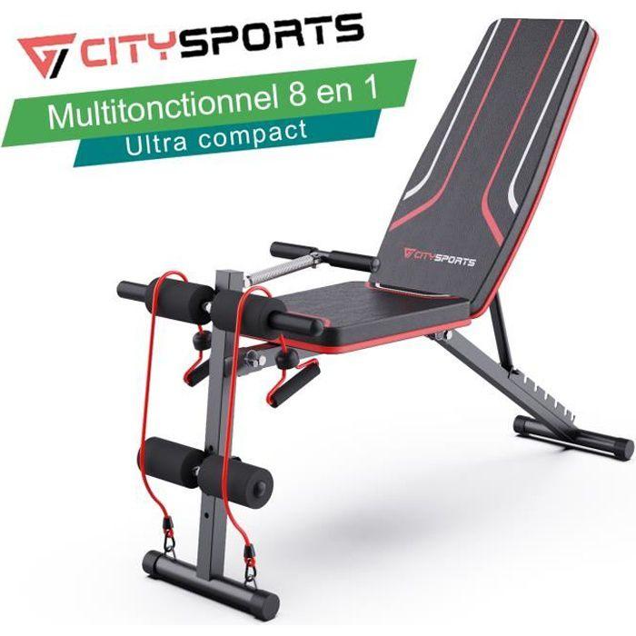 CITYSPORTS Banc de Musculation Pliable Multifonction Tout-en-1 avec 7 Positions Ajustables & 2 sangles d'entraînement à Domicile