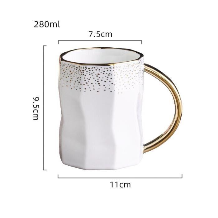 Service à café avec soucoupes,Nouveauté tasse à café en céramique tasse expresso mode Couple tasse tasse à thé - Type WHITE - 280ML