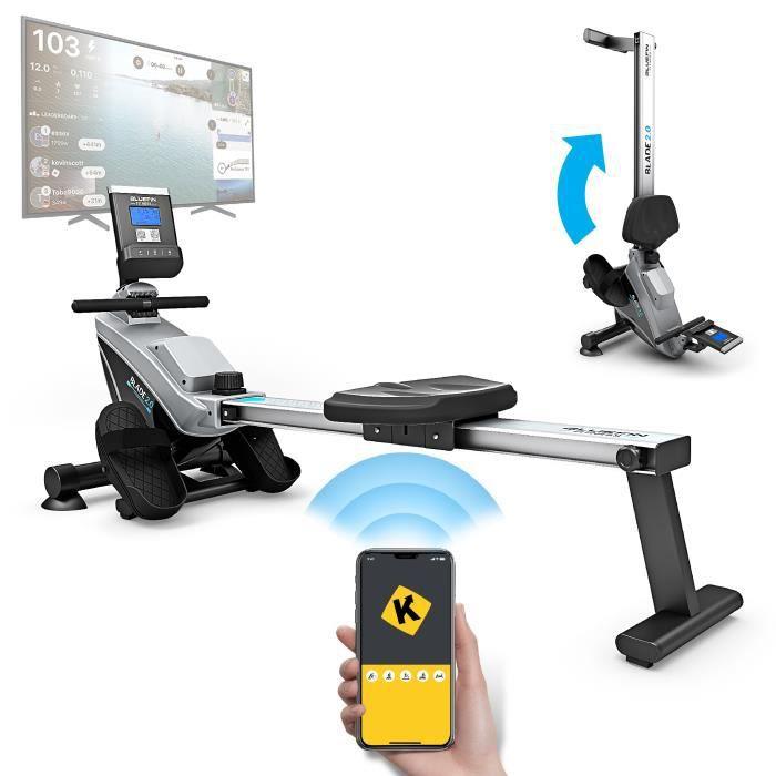 Bluefin Fitness Rameur d'Appartement Pliable Blade Résistance Magnétique Ajustable - 8X Niveaux de Tension - Fonctionnement à Courro