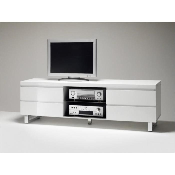 Meuble TV ALTONA blanc finition laque brillantte 4 tiroirs 1 niche blanc MDF Inside75