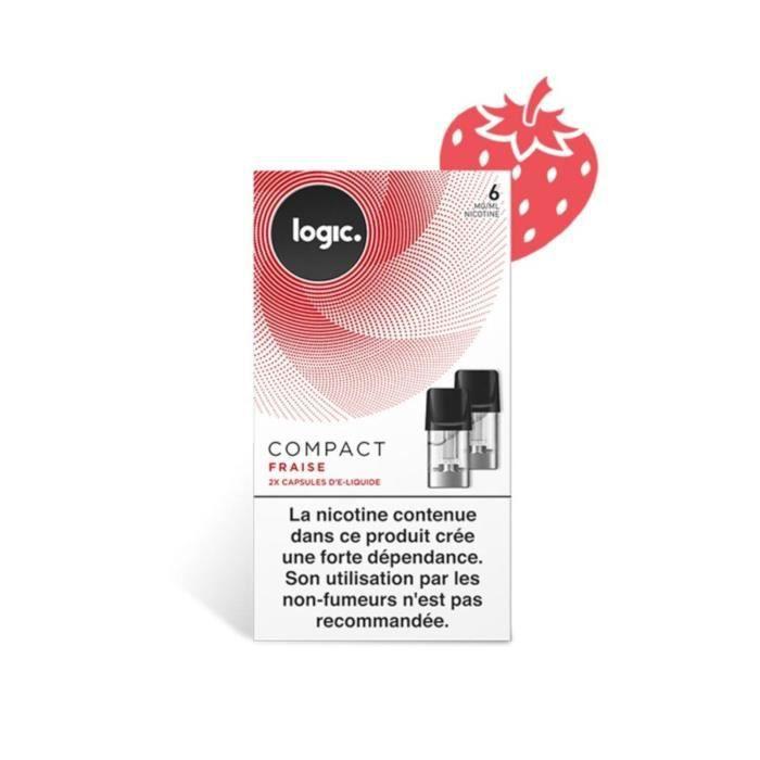 Logic E-Liquide en Capsule Logic Compact – Fraise 6 mg/ml