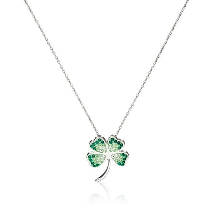 Mes-bijoux.fr - Pendentif + Chaîne Argent 925 Femme Argent 925 Vert et ornée de Cristaux de Swarovski Element - WPT19Vgv