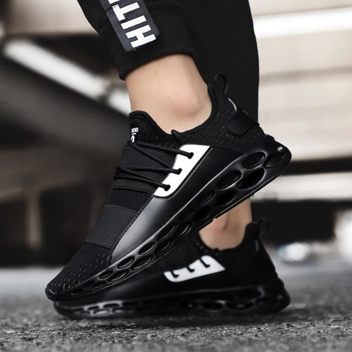 Simple d'Hommes pour adultes Chaussures de tennis léger respirant Sneakers lacées Noir