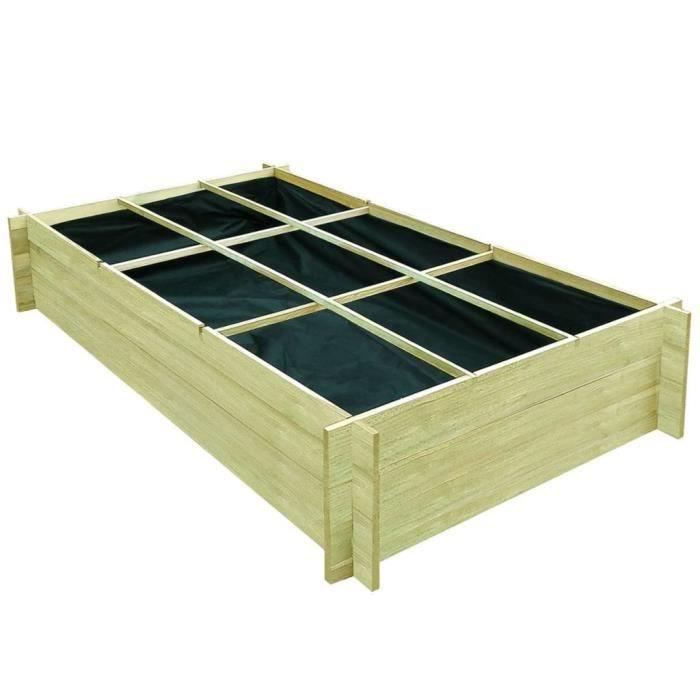 Economique Magnifique Haute qualité Luxueux Jardinière pour légumes Bois de pin imprégné FSC 197x100x40 cm