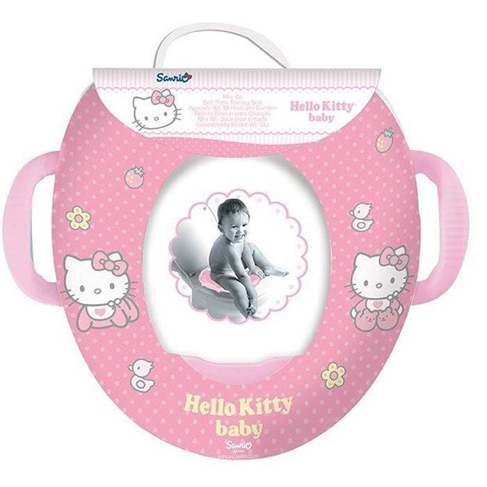 Siège de toilette enfant rembourré motif Hello Kitty avec poignées