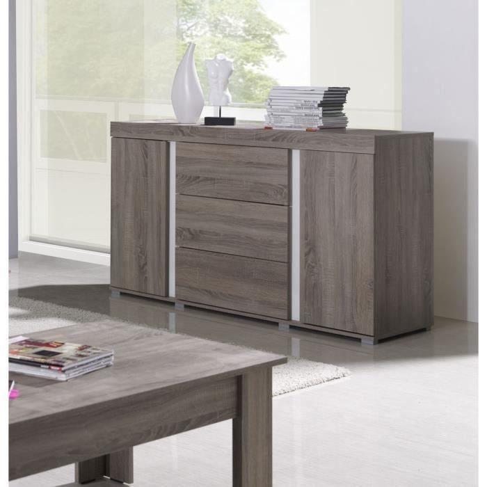 Buffet, bahut, enfilade AVIGNON coloris sonoma. Meuble design pour salon, salle à manger. 50 Marron