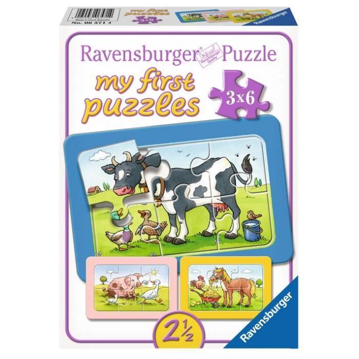 Puzzle 6 pièces 3 Puzzles - My First Puzzle - Animaux de la Ferme