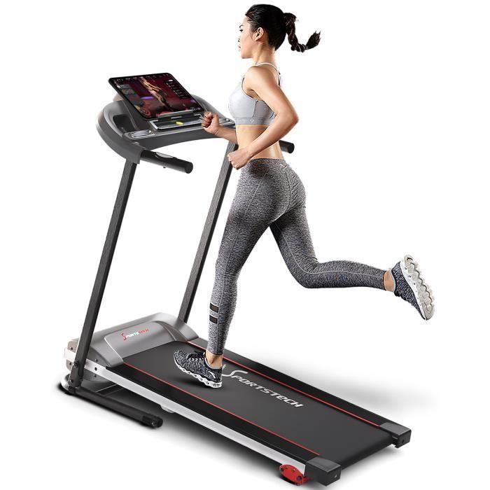 Sportstech Tapis de Course F10 modèle 2020 - Marque de qualité Allemande + Video Events & Multiplayer APP + 13 Home programmes