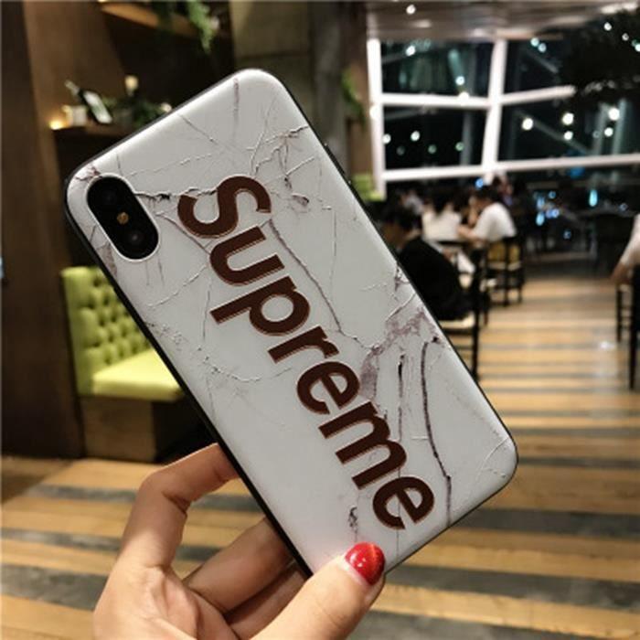supreme coque iphone x marbre blanc