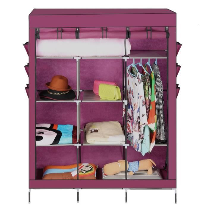 rangement pr chaussures placard portable organisateur garde robe tendoir avec tag res et. Black Bedroom Furniture Sets. Home Design Ideas