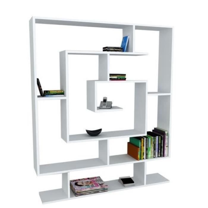 sarmasik bibliotheque etagere blance 125x22x145cm achat. Black Bedroom Furniture Sets. Home Design Ideas