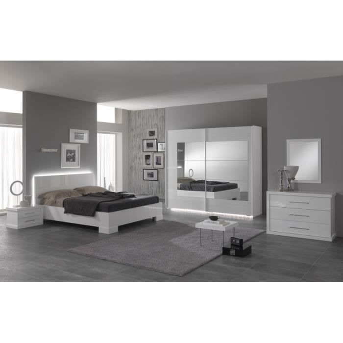 ensemble lit led 160 laqu blanc chevet laqu blanc achat vente chambre compl te ensemble. Black Bedroom Furniture Sets. Home Design Ideas
