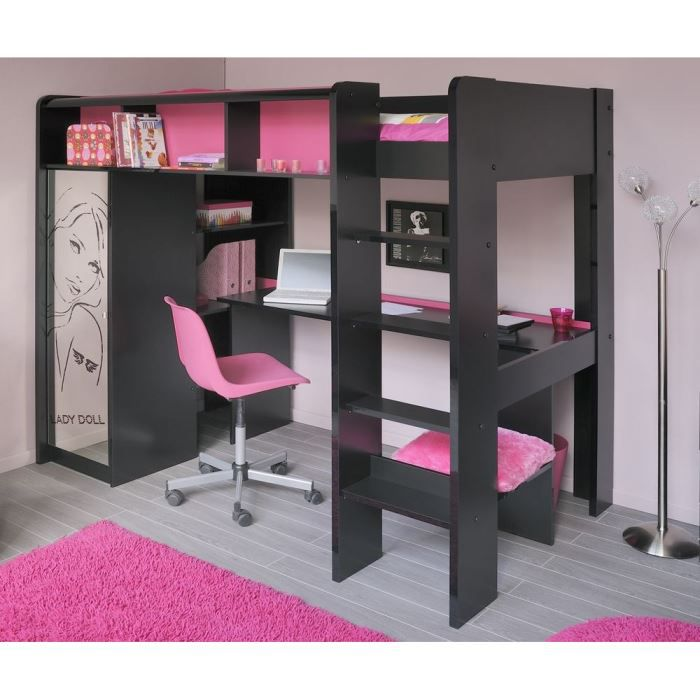 glam lit sur lev l205 cm d cor noir et rose achat vente lit combine soldes cdiscount. Black Bedroom Furniture Sets. Home Design Ideas