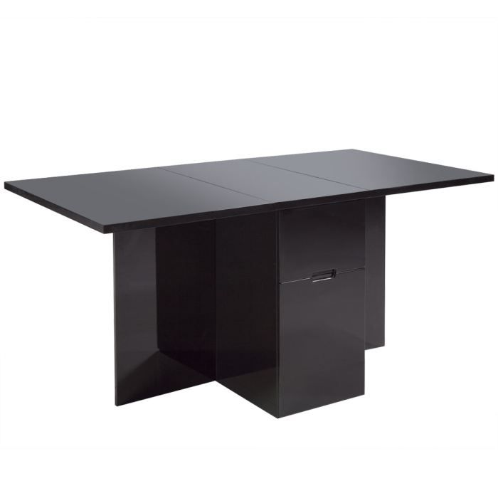 table manger pliante noir laqu avec tiroir star achat vente table manger table manger. Black Bedroom Furniture Sets. Home Design Ideas