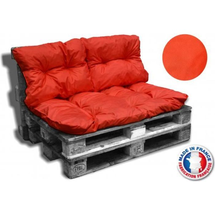KIT COUSSINS PALETTE OUTDOOR orange 1 assise+2 dossiers 120*80 cm ...