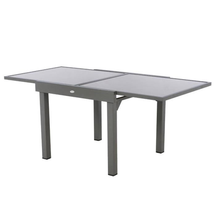 Table extensible carr e piazza 4 8 places taupe achat for Table carree 90x90 extensible