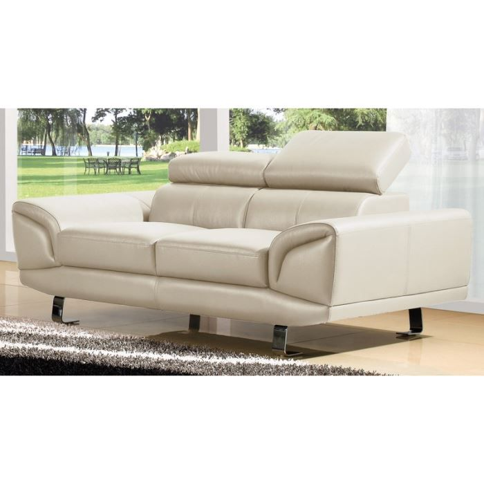 Canap 2 places luxe margot cuir beige design achat vente canap sofa divan cdiscount - Canape cuir luxe ...