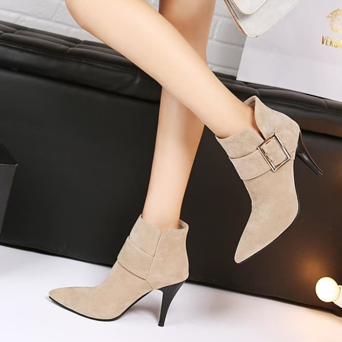 bottes courtes-Pure Color High Heel Heel Thin l...