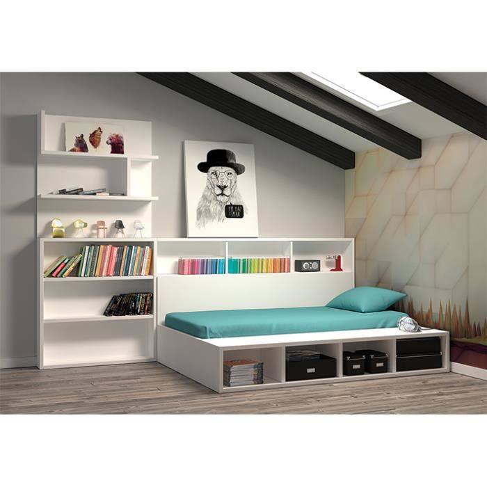 chambre edmond lit coffre avec biblioth que achat vente chambre compl te chambre edmond lit. Black Bedroom Furniture Sets. Home Design Ideas