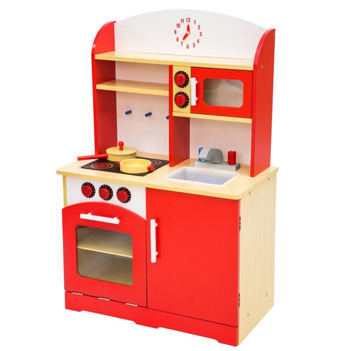 Tectake Cuisine Pour Enfant Dinette En Bois Jouet 60 Cm X 30 Cm X