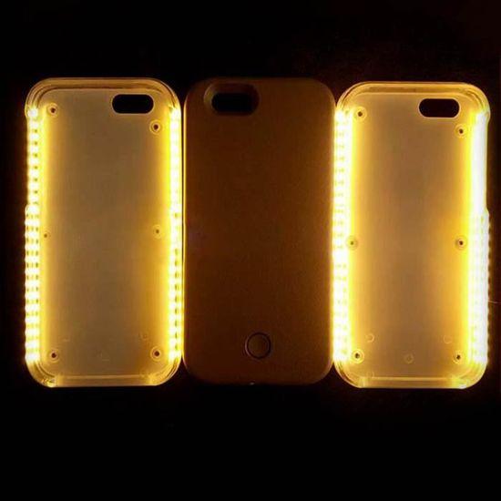 coque led flash selfie iphone 7 plus etui gris l