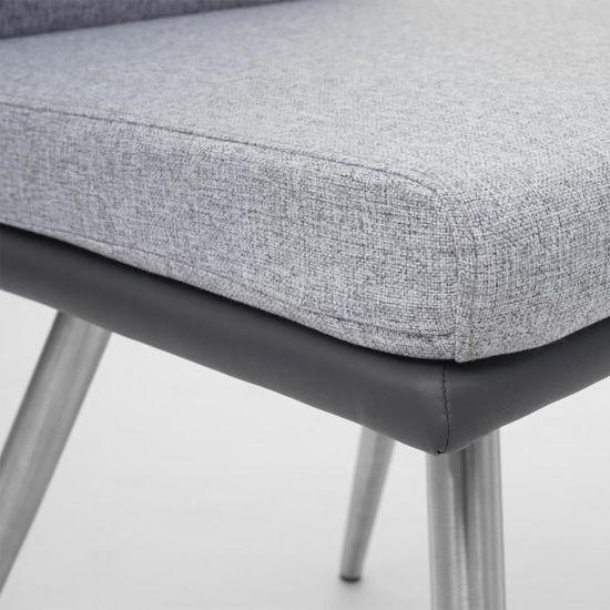 2x Chaise de salle à manger hwc-g55 Chaise de cuisine tissu//textile Inox Brossé