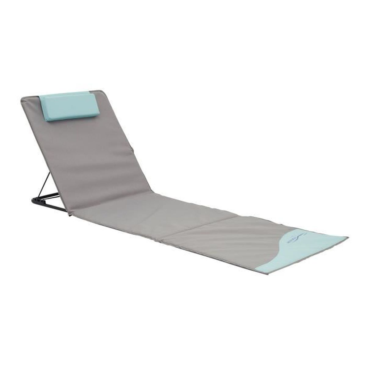 tapis de plage pliant xxl avec dossier et oreiller de t te bleu gris 200 x 60 x 3 cm avec. Black Bedroom Furniture Sets. Home Design Ideas