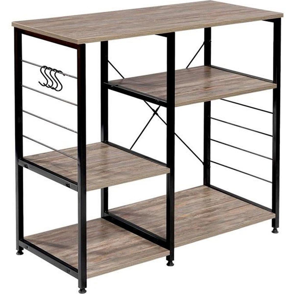 Etagere Dessus Micro Onde woltu etagère four à micro-ondes, etagère de cuisine en métal et bois,  90x40x83.5 cm, noir+hêtre foncé
