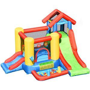 AIRE DE JEUX GONFLABLE COSTWAY 7 en 1 Château Gonflable pour 5 Enfants Pl