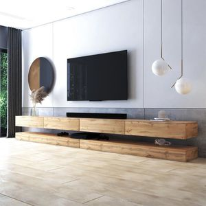 meuble tv meuble de salon aviator double 2x140 cm. Black Bedroom Furniture Sets. Home Design Ideas