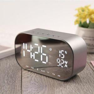 ERAY Haut-Parleur Bluetooth V4.2 avec Miroir LED Horloge Affichage//6W St/ér/éo Basse//R/éveil//Fonction de Snooze//Veilleuse Noir Enceinte Bluetooth 3.5mm AUX C/âble et USB C/âble Fournis