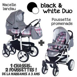 POUSSETTE  Poussette Combinée Duo 2 en 1 B&W Gris - Carreaux