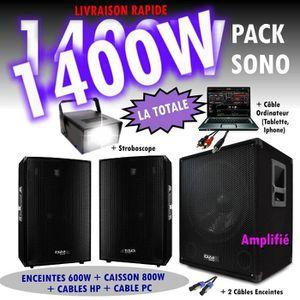 PACK SONO PACK SONO DJ 1400W CUBE 1512 avec CAISSON + ENCENT
