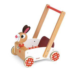 YOUPALA - TROTTEUR Janod - J05997 - Chariot Crazy Rabbit (bois):  Jeu