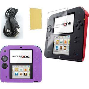 PACK ACCESSOIRE Pack 3 en 1 Nintendo 2DS : Housse silicone violet