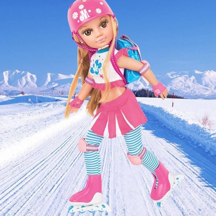 17inch Belle Poupée Princesse Noire De Patinage Sur Glace Avec La Tenue De Ski Pour Les Enfants Ou Les Filles