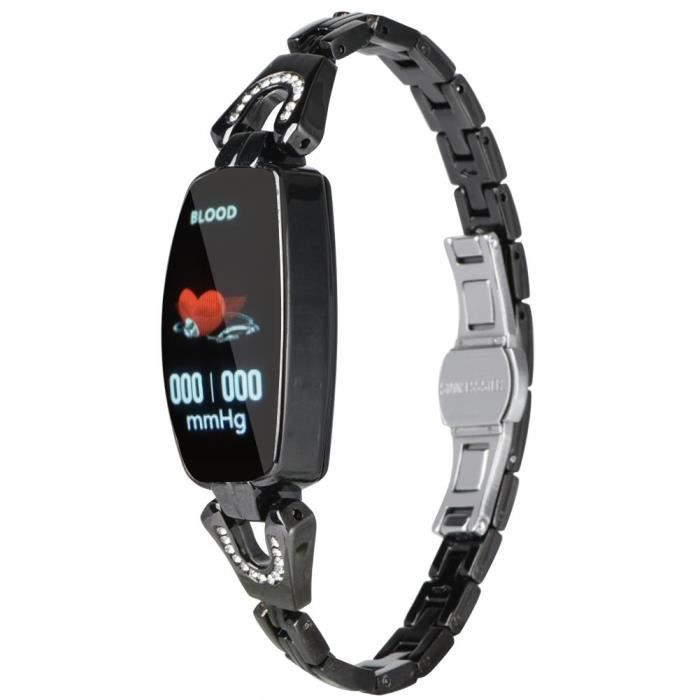 Smart montre écran couleur étanche Femmes Smarts Sport Fitness Bracelet Fréquence cardiaque Tension artérielle (Noir)