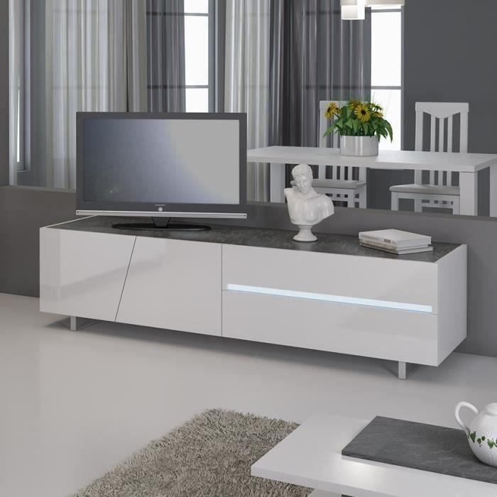 Banc TV avec led design laqué blanc LAUREA avec éclairage à LED intégré Blanc
