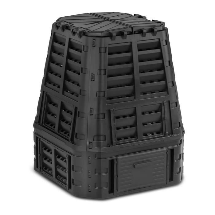 Composteur De Jardin Bac De Compostage Rapide D'Extérieur Plastique Noir 740 L