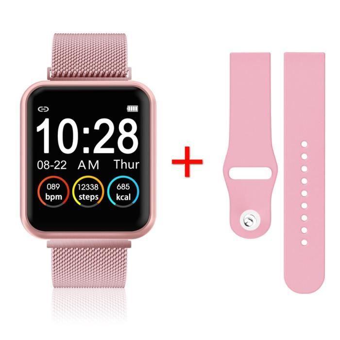 Montre intelligente IP67 étanche Smartwatch hommes sport moniteur de fréquence cardiaque femmes Fitness Tracker mont - Pink - WL9107