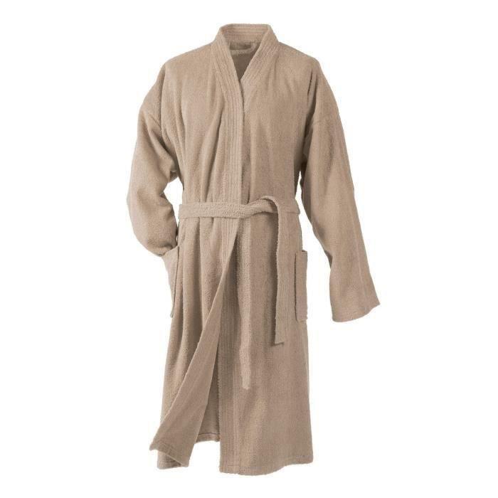 DOUCEUR D'INTERIEUR Peignoir kimono éponge 100% coton Vitamine taupe