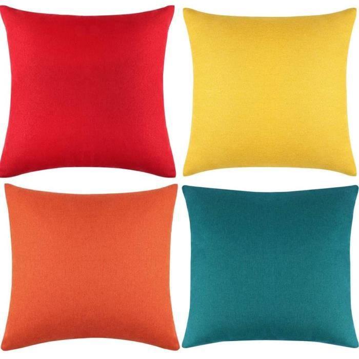 Lot de 2 housses de coussin carrées imperméables pour extérieur 45 cm x 45 cmpour voiturecanapédécoration d'intérieur (4 couleurs)