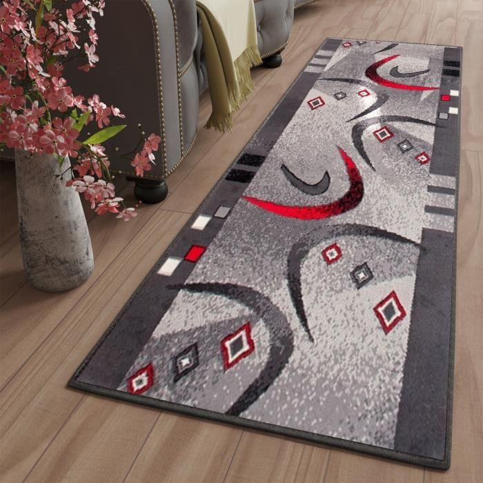 TAPISO Dream Tapis de Passage Moderne Géométrique Gris Rouge Blanc Fin 60 x 200 cm