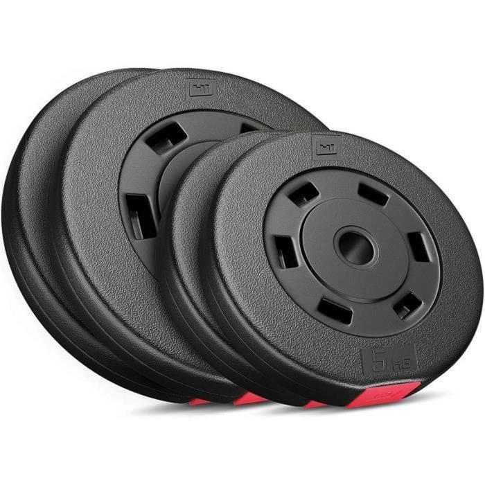 HS Hop Sport Disques Plastiques 30 kg Set de Poids Haltères (2x10 kg + 2x5 kg)