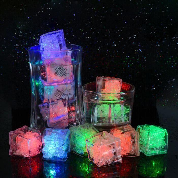 Glaçon Lumineux à LED multicolore simulé submersible décoratif 12 PCS Matériau inoffensif